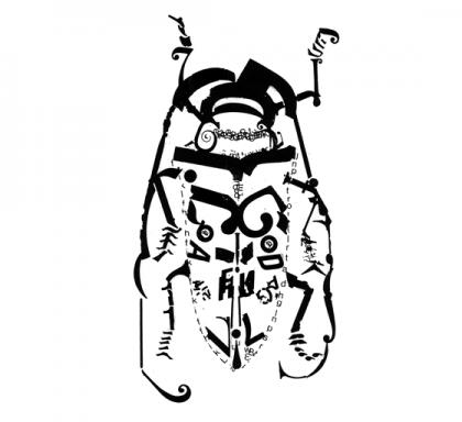 Livre d'artiste. Bzzz... Insectes et typographie. détail : capricorne © Florence Boudet
