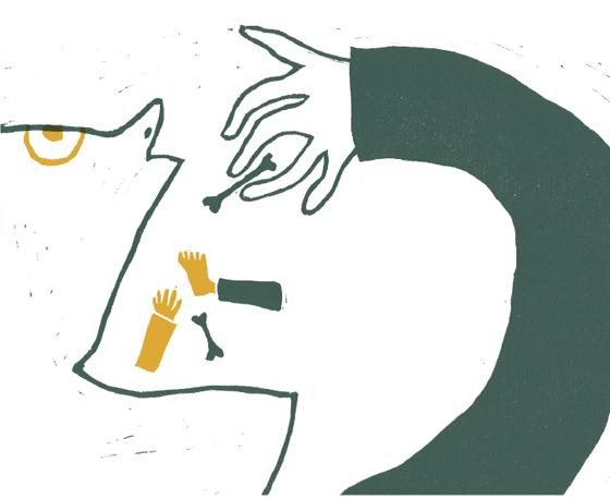 Ulysse le brave : Polyphème, le cyclope, engloutit un compagnon. illustration en linogravure © Florence Boudet