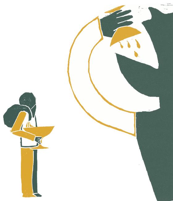 Ulysse le brave, Ulysse et Polyphème, le cyclope, illustration en linogravure © Florence Boudet