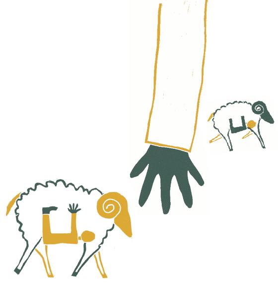 Ulysse le brave : La ruse : Fuite sous les moutons, illustration en linogravure © Florence Boudet