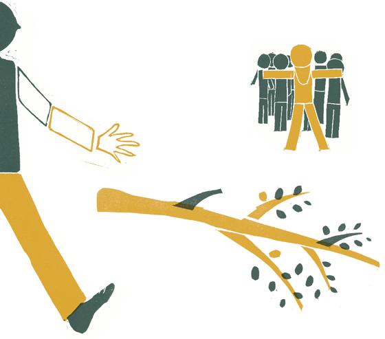 Ulysse le brave, Ulysse protège ses compagnons, illustration en linogravure © Florence Boudet