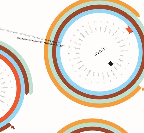 Design de l'information : projet pour calendrier-agenda BOZAR, design de l'information. © Florence Boudet