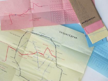 Cartographie et grilles horaires des transports dans Coquecigrue, utopie. dessin à la machine à écrire sur papier pelure. © Florence Boudet