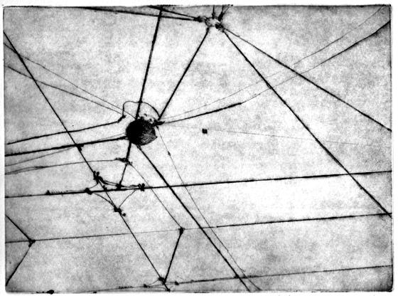 Gravure taille douce sur zinc imprimée, paysage cartographique à Milan : fils du tramway. © Florence Boudet