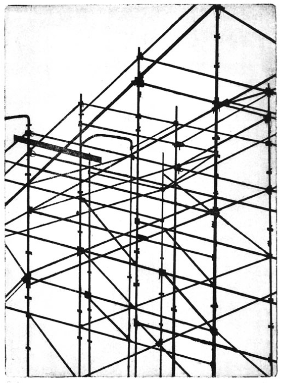 Gravure taille douce sur zinc imprimée, paysage cartographique à Milan : échaffaudages. © Florence Boudet