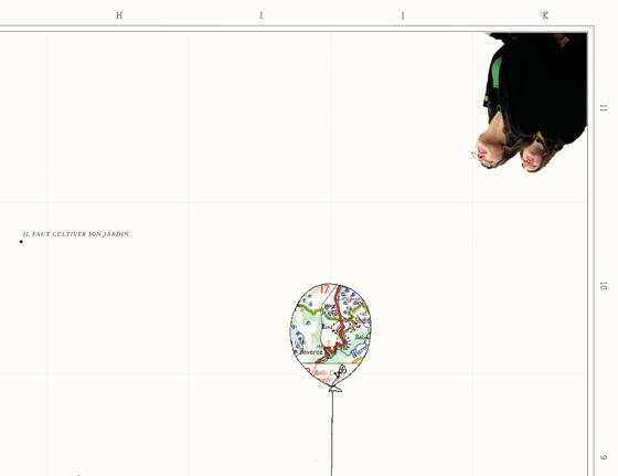 Cartographie imaginaire pour documenter un happening lâcher de ballons, à Bruxelles. © Florence Boudet