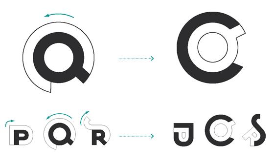 Système typographique gigogne, imbrication des formes. © Florence Boudet