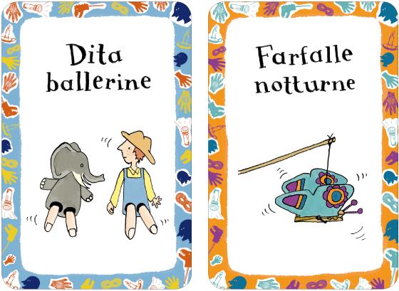 """Illustrations et lettrages de 52 cartes-activités, """"jeux d'ombre et de lumière"""", publié par Magazzini Salani Editore, par Florence Boudet"""