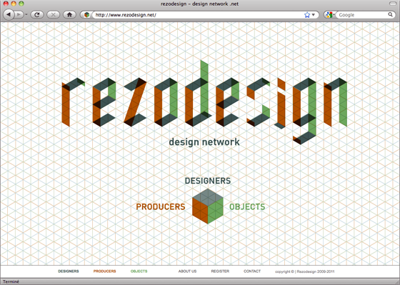 Page d'accueil du site Rezodesign © Florence Boudet pour Cento per Cento