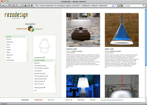 design du site Rezodesign © Florence Boudet pour Cento per Cento