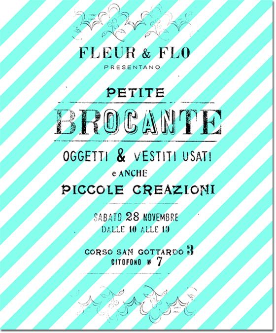 invitation pour une brocante privée, lettrage et décor réalisé avec des tampons et rouleaux à festons anciens. © Florence Boudet