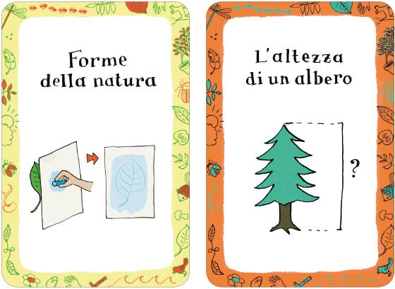 """Illustrations et lettrages de 52 cartes-activités, """"découverte nature"""", publié par Magazzini Salani Editore, par Florence Boudet"""