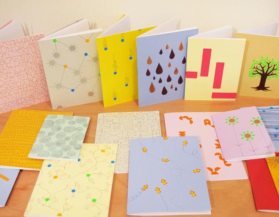 Collection de carnets uniques à motifs colorés entièrement réalisés à la main © Florence Boudet