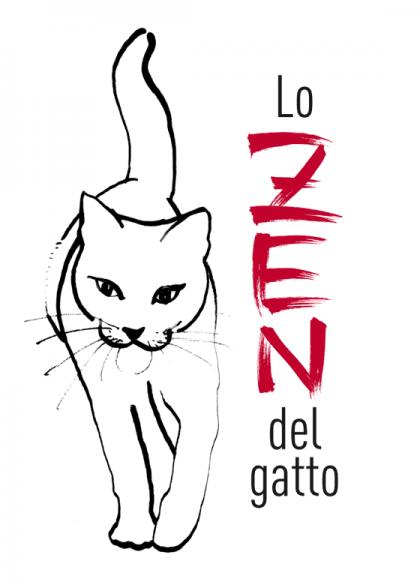 Lo zen del gatto, de Ludovica Scarpa, dessin et lettrage de couverture à l'encre de chine. © Florence Boudet