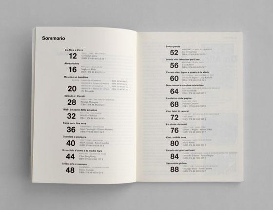 Sommaire du catalogue annuel commenté des éditions jeunesse Topipittori. © Florence Boudet