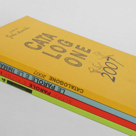 Couvertures des différents catalogues annuels des éditions jeunesse Topipittori. © Florence Boudet