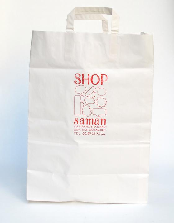 Sac grand format pour Shop Saman, concept store associatif à Milan. © Florence Boudet