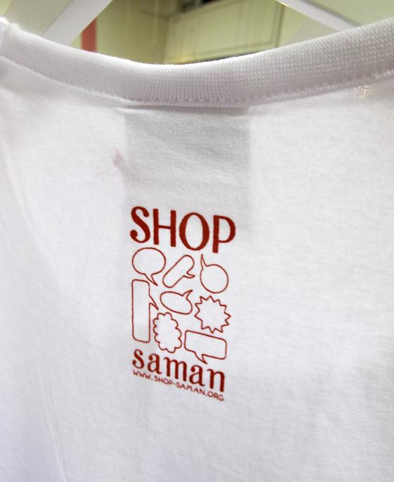 étiquette sérigraphiée sur textile pour Shop Saman, concept store associatif à Milan. © Florence Boudet