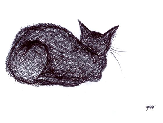 Dessin au stylo bille, chat et fourmi. © Florence Boudet