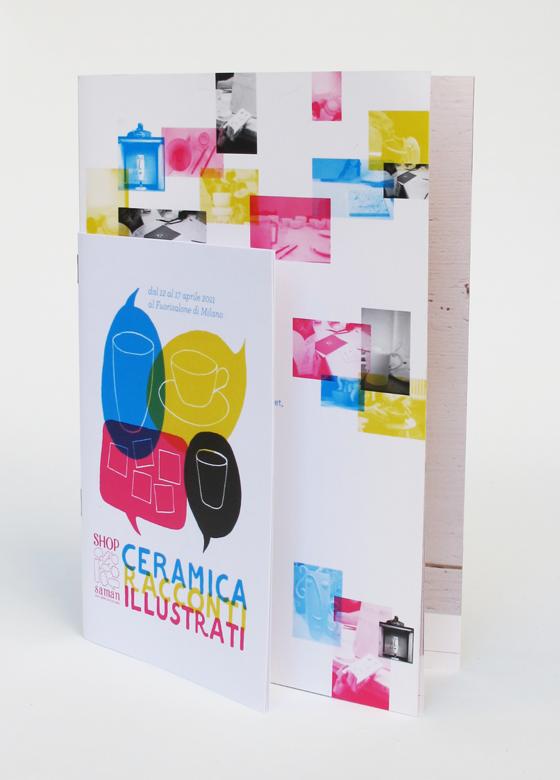 catalogue d'exposition de céramique à Shop Saman, Milan. Double format avec brochure agrafe. © Florence Boudet