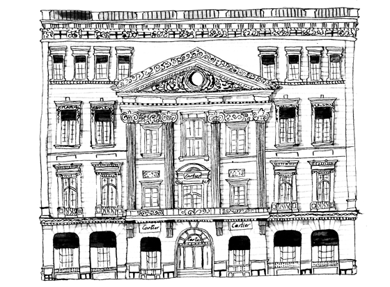 Magasin Cartier à New York City, illustration lavis et plume encre de chine. © Florence Boudet