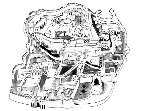 La ville ancienne de Golconda en Inde, illustration lavis et plume encre de chine. © Florence Boudet