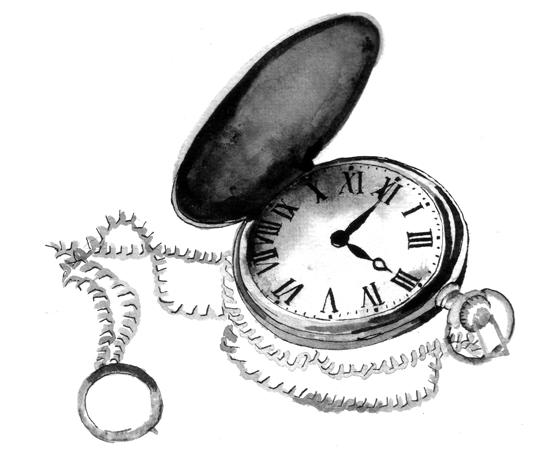Broken Pocket Watch Illustration
