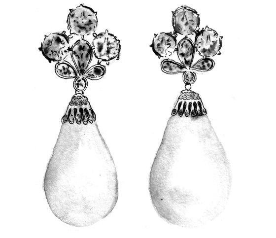 Paire de boucles d'oreille perles Mancini, illustration lavis et plume encre de chine. © Florence Boudet