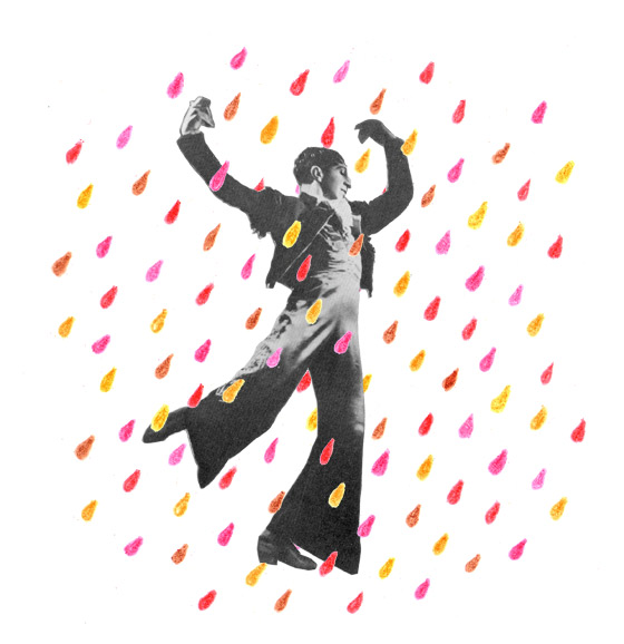 Florence Boudet - FLO-FLO - collage - illustration - rain - dance - colors - happiness