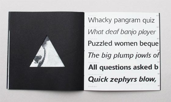 """Delta, livre à trous (découpe triangulaire), liste de multiples sens associés au mot """"delta"""". Ici caractère typographique Delta Pro par Gustav Jaeger. © Florence Boudet"""