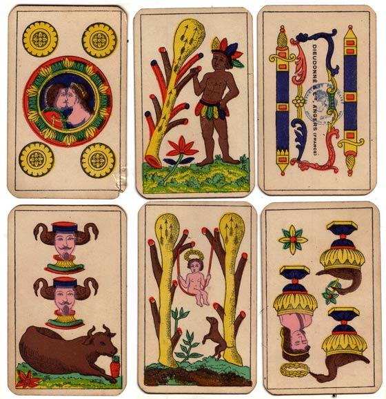 Cartes du jeu de l'Aluette ancien, par Dieudonnée et Cie, Angers