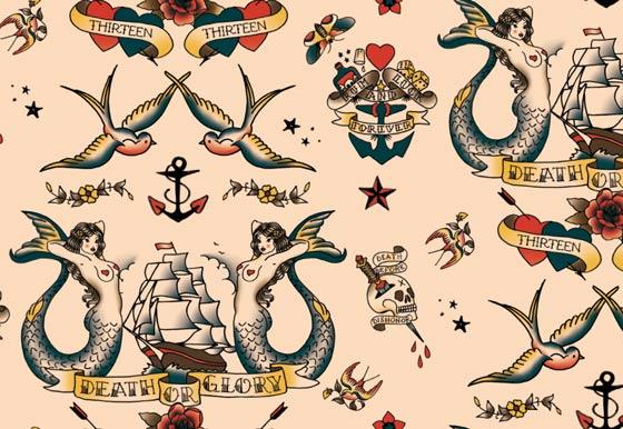 Motif all over composé de tatouages old sailor - ©Florence Boudet