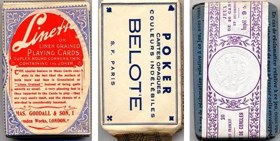 paquets de cartes à jouer anciennes