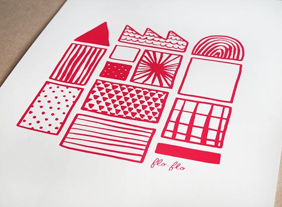 Fabrique. Sérigraphie, couleur rouge. © Florence Boudet