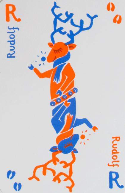 Cartes atouts de noël sérigraphiés en deux passages couleurs : renne Rudolf ©Florence Boudet