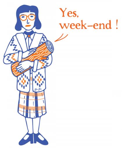 illustration inspirée par la femme à la bûche (log lady) de Twin peaks, pour la communication de l'évènement Pile-poële aux ateliers de la ville en bois à Nantes. ©Florence Boudet
