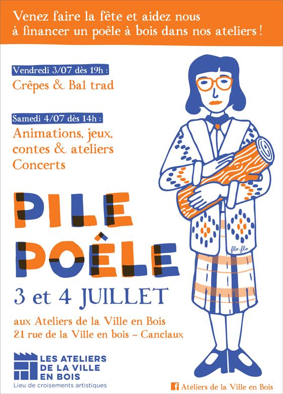 affiche avec illustration inspirée par la femme à la bûche (log lady) de Twin peaks, pour la communication de l'évènement Pile-poële aux ateliers de la ville en bois à Nantes. ©Florence Boudet