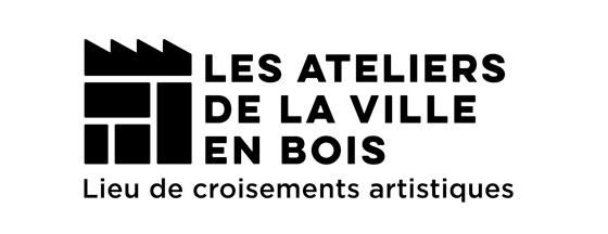 design du logo de Les Ateliers de la Ville en Bois, lieu de croisements artistiques, à Nantes, version pour petit formats. © Florence Boudet