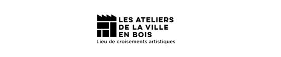 design du logo de Les Ateliers de la Ville en Bois, lieu de croisements artistiques, à Nantes, version small pour petit formats. © Florence Boudet