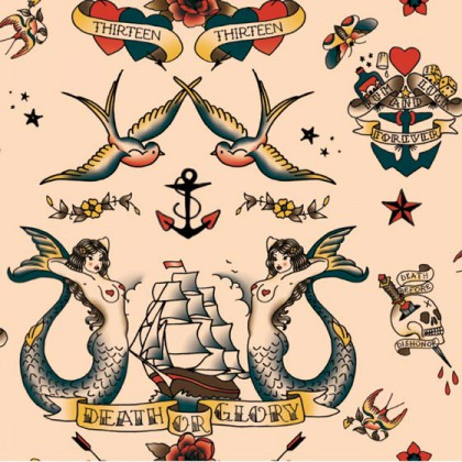 Motif all over composé de tatouages old sailor - ©Florence Boudet