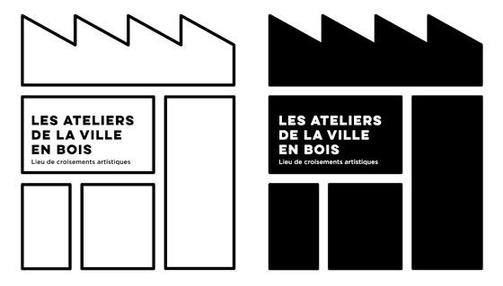 élément de l'identité graphique de Les Ateliers de la Ville en Bois, lieu de croisements artistiques, à Nantes, logo versions grand format. © Florence Boudet