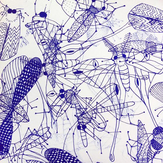 Nuée d'insectes, superposition. Tirage sérigraphié en bleu cobalt ©Florence Boudet