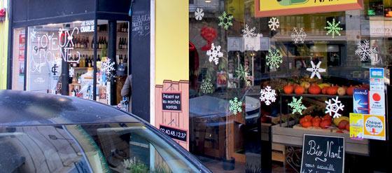 Lettrage et décor éphémère sur vitrines à Nantes © Florence Boudet