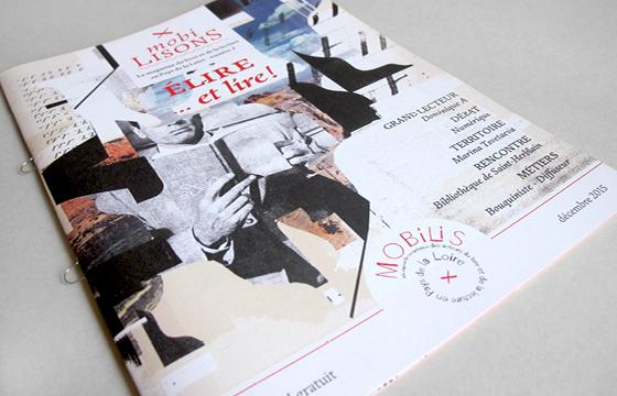 Couverture du magazine MobiLISONS numéro 2, semestriel publié par l'association Mobilis (Pôle régional des acteurs du livre et de la lecture en Pays de Loire), mis en page par Florence Boudet
