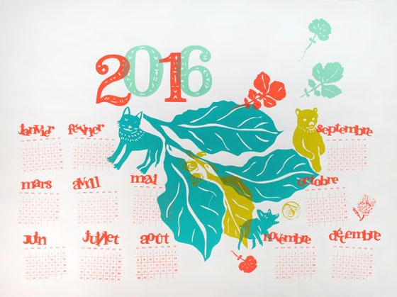 Calendrier 2016, animaux et nature, sérigraphie 4 couleurs © Florence Boudet et Laetitia Berthomé