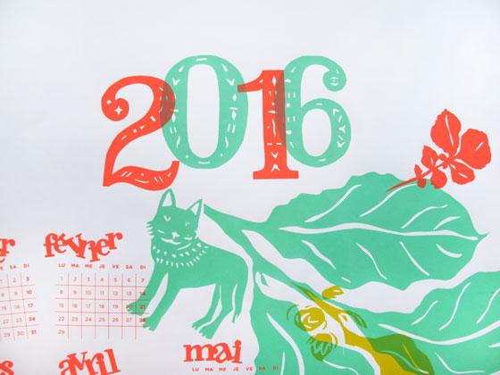 Calendrier 2016, animaux et nature, sérigraphie, 4 passages couleurs © Florence Boudet et Laetitia Berthomé