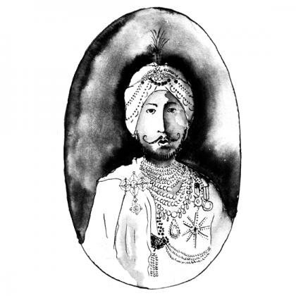 portrait de Maharadjah, illustration lavis et plume encre de chine. © Florence Boudet